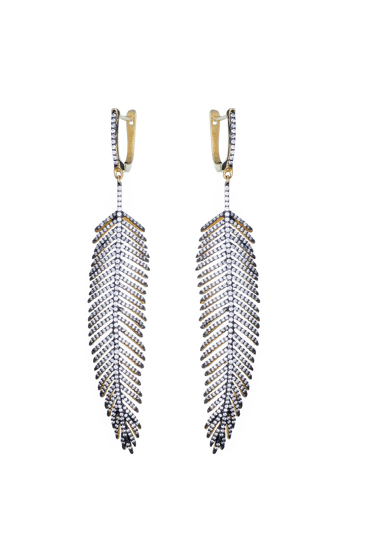Feather Gold Tone Drop Earrings Black